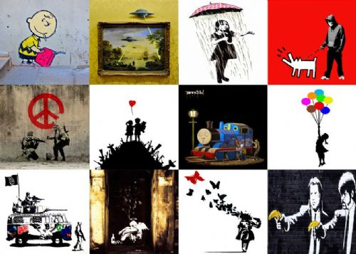 BANKSY - BIG MIX - ONE canvas print - self adhesive poster - photo print